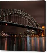 Sydney Harbor At Night With Train Canvas Print
