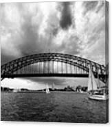Sydney Harbor Bridge Black And White V2 Canvas Print