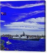 Sydney Harbour And Flying Flag Canvas Print