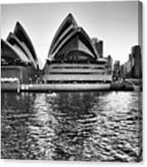Sydney Opera House-black And White Canvas Print
