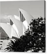 Sydney Opera House Black And White Canvas Print