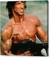 Sylvester Stallone And Browning Machine Gun Rambo 1985 Canvas Print