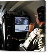 System Operator Operates A Console Canvas Print