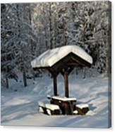 Table By Cross Country Ski Tracks Canvas Print