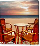 Table For Four At The Beach At Sunset Canvas Print