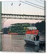 Tacoma Narrows Bridge With Patrol Boat In Foreground Canvas Print