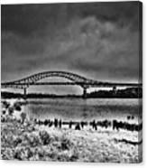 Tacony Palmyra Bridge In B And W Canvas Print