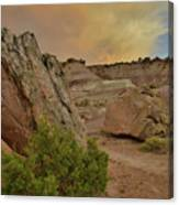 Tail End Of Storm At Sunset Over Bentonite Site Canvas Print