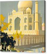 Taj Mahal Visit India Vintage Travel Poster Restored Canvas Print