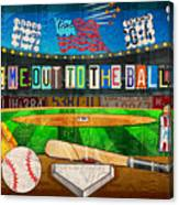 Take Me Out To The Ballgame Recycled Vintage License Plate Art Collage Canvas Print