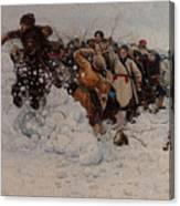 Taking A Snow Town Canvas Print