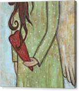 Tall Angel With Heart Canvas Print
