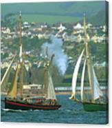 Tall Ships And Steam Trains Canvas Print