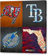 Tampa Bay Sports Fan Recycled Vintage Florida License Plate Art Bucs Rays Lightning Plus State Map Canvas Print
