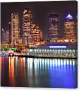 Tampa Skyline At Night Early Evening Canvas Print