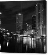 Tampa Skyline West Night Black And White Canvas Print