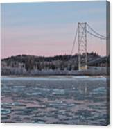 Tanana River With Pipeline - Early Morning Canvas Print