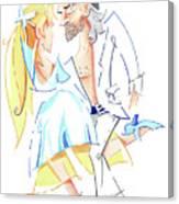 Tango Nuevo - Gancho Step - Dancing Illustration Canvas Print