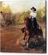 Tango Reining Horse Slide Stop Portrait Painting Canvas Print