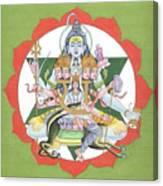 Tantrik Diagram Of Lord Shiva, Mantra Yantra ,indian Miniature Painting, Watercolor Artwork, India Canvas Print
