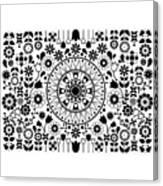 Tapiz Flores Black And White Canvas Print