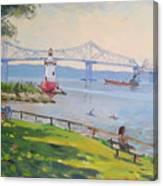 Tappan Zee Bridge And Light House Canvas Print