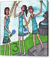 Tarot Of The Younger Self Three Of Cups Canvas Print