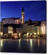 Tartini Square Plaza In Piran Slovenia With City Hall, Tartini S Canvas Print