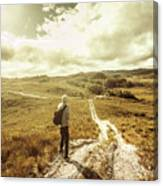 Tasmanian Man On Road In Nature Reserve Canvas Print