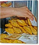 Tasty Hot Empanadas For Lunch In Angelmo Fish Market In Puerto Montt-chile Canvas Print