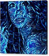 Tatto Lady With The Blues Canvas Print