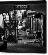 Tattoos And Body Piercing In Black And White Canvas Print