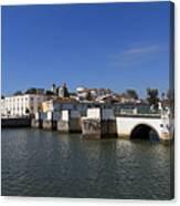 Tavira Ponte Romana And The River Canvas Print
