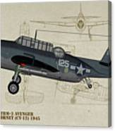 Tbm-3 Avenger Profile Art Canvas Print