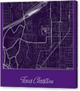 Tcu Street Map - Texas Christian University Fort Worth Map Canvas Print