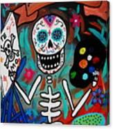 Te Amo Painter Dia De Los Muertos Canvas Print