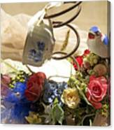 Tea Cup Bed Coil Floral Canvas Print