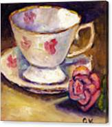 Tea Cup With Rose Still Life Grace Venditti Montreal Art Canvas Print