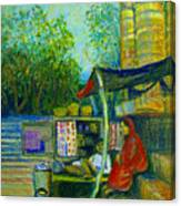 Tea Stall At Assi Ghat In Varanasi Canvas Print