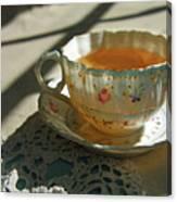 Teacup On Lace Canvas Print