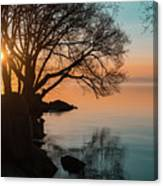 Teal And Orange Morning Tranquility With Rocks And Willows Canvas Print