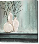 Teal Elegance - Teal And Gray Art Canvas Print