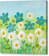 Teal Flowers And Daisies Canvas Print