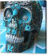 Teal Gem Art Skull Canvas Print
