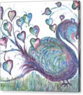 Teal Hearted Peacock Watercolor Canvas Print