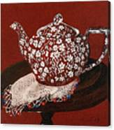 Teapot Calico Red Canvas Print