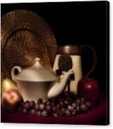 Teapot With Fruit Still Life Canvas Print