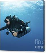 Technical Diver With Equipment Swimming Canvas Print