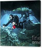 Technical Divers Enter The Cavern Canvas Print