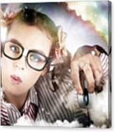 Technology Smart Woman Using Cloud Computing Canvas Print